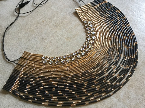 32 Layered Necklace - Paper Jewellery - Black & Gold Colour - With Glass work
