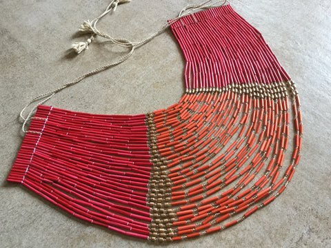 32 Layered Necklace - Paper Jewellery - Red & Orange Colour