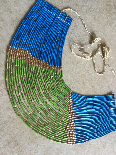 32 Layered Necklace - Paper Jewellery - Blue & Green colour