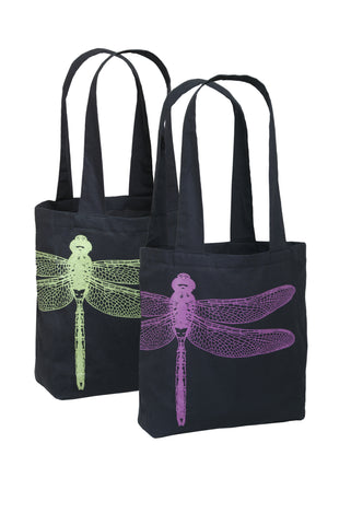 Organic Cotton Bag - Charcoal Colour - Dragonfly screen print