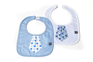 Set of 2 bibs - with appliqué work - Blue & white colour
