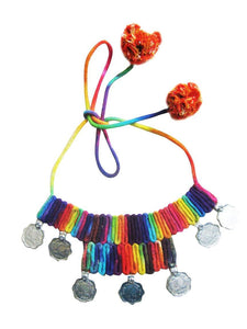cotton necklace - multicolour with coin accent