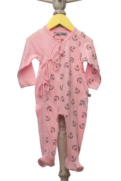 Baby Onesie Sleeper - Pink - Anchor Print
