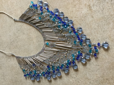 Layered Crystal Fringe Necklace