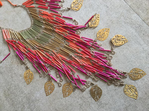 Long Leaf Fringe Necklace