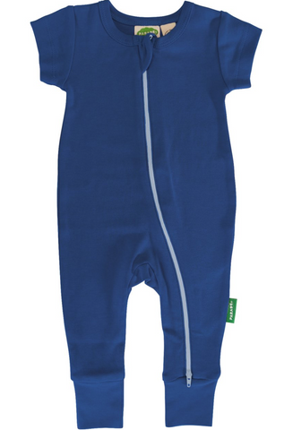 Organic Cotton Short Sleeve Romper with zipper Blue colour