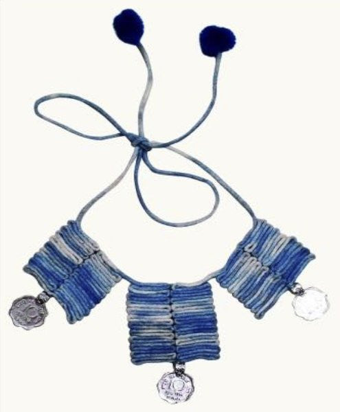 Cotton necklace - blue with coin accents