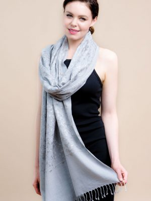 Merino wool - Grey shawl - embroidery in grey colour