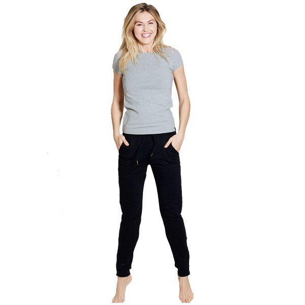 Organic Cotton basic yoga bottom - Black - full length