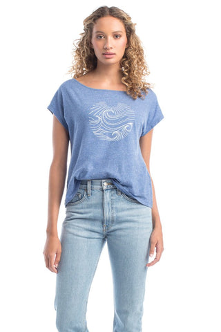 Organic Cotton Screen Printed Top - Cobalt Blue