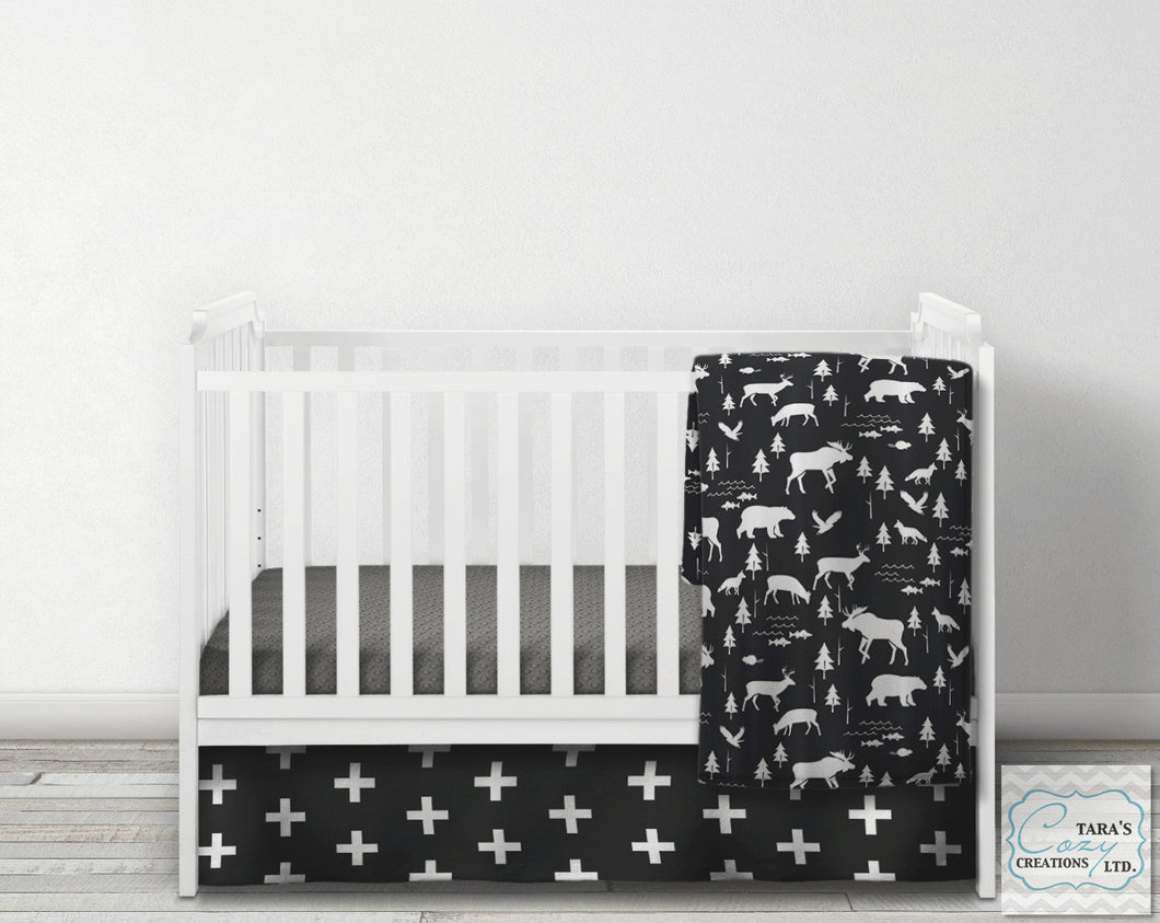 3 Piece Nursery Set- Exclusive Minky - Woodland Crib Set- Blanket, Skirt and Sheet
