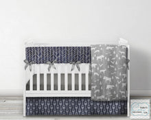"3 Piece Nursery Set- ""Woodland Collection"" Minky - Woodland Faux Patchwork Crib Set- Blanket, Skirt and Sheet"