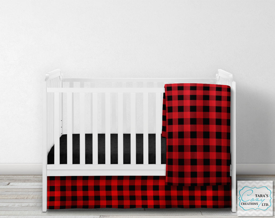Buffalo Plaid Woodland Nursery Crib Set- YOU CHOOSE WHICH ITEMS- Blanket, Skirt, Sheet, Bumpers and Changing pad cover