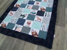 Arcitc Cat - Snowmobile Patchwork DESIGNER - Panel Minky Blanket- You Choose the Colors