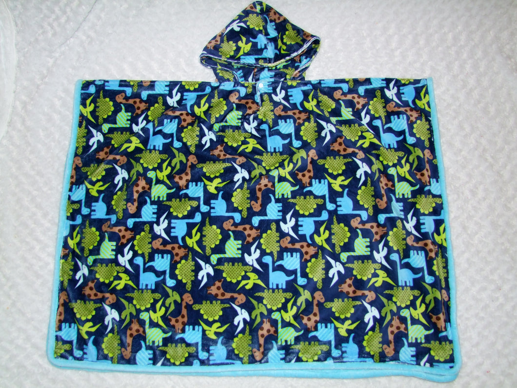 Dinosaur Minky Car Seat Poncho - Baby to Adult Sizing