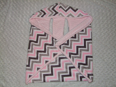 Pink Gray Cozy Wrap Blanket- Car Seat Blanket