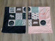 Brown Green - Adventure awaits-  Bear Moose DESIGNER Minky Blanket