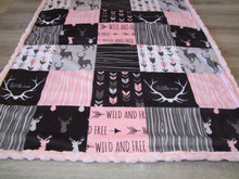 DESIGNER Pink Deer and Woodgrain Minky Canopy Blanket- Car Seat Canopy Blanket