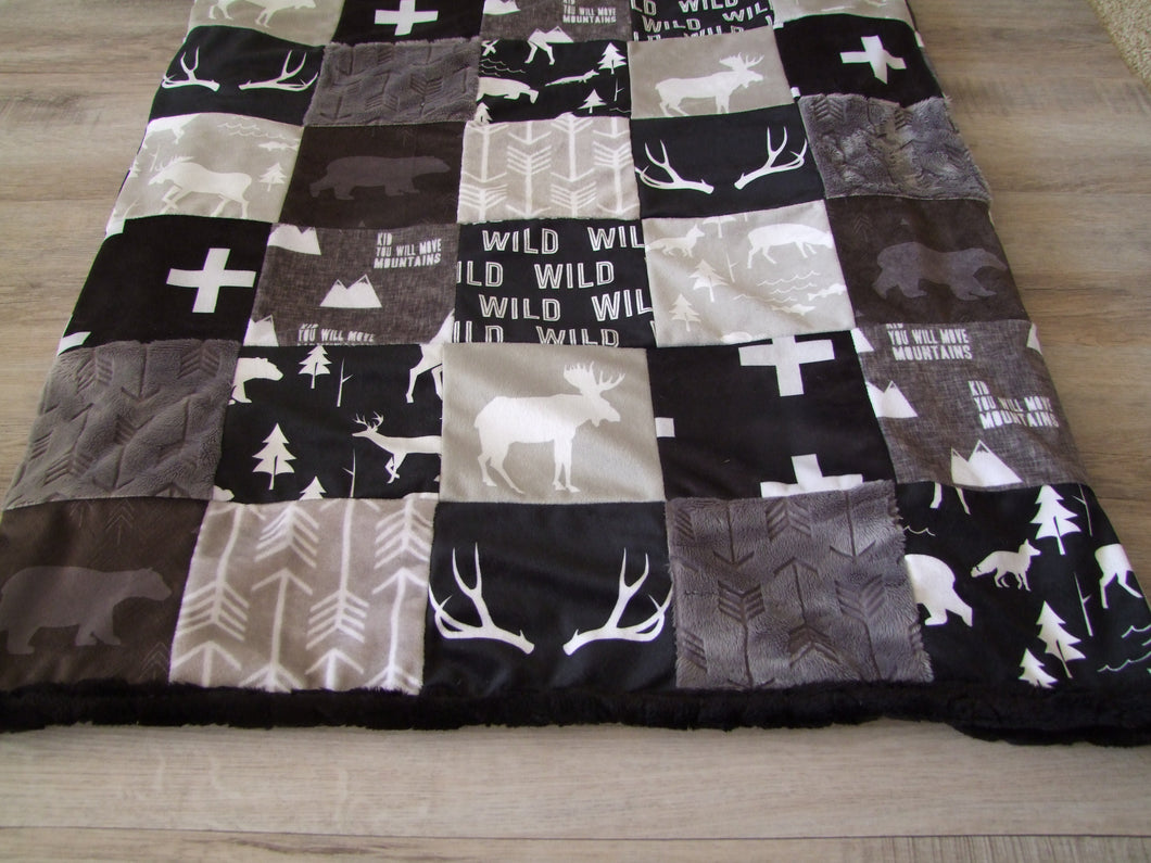 25ab00344e702 ... Black Gray Woodland BLOCK Style Minky Blanket- Toddler Size up to KING  SIZE