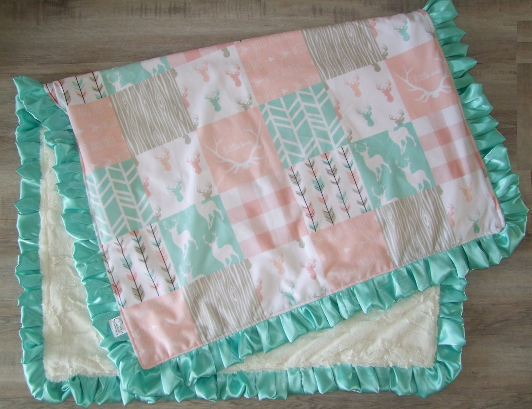 Designer Deer Woodgrain Baby Pink and Teal Minky Blanket