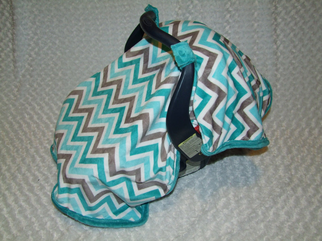 Teal Gray Chevron Car Seat Canopy Blanket - Car Seat Canopy Blanket-