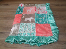 "Satin Ruffle Coral Teal Woodland BLOCK Style Minky Blanket ""Woodland Collection"""