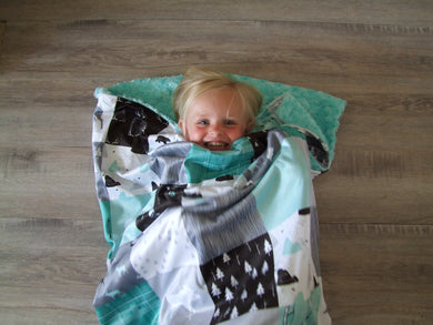 Woodland Sleep Bag - Minky Sleeping Bag -  Big Baby to Adult Sizes