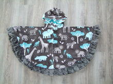 Jungle tales Minky Circular Poncho - Baby to Adult Sizing