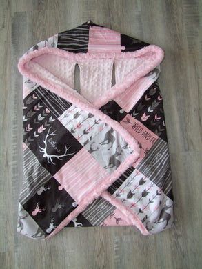 Designer Cozy Wrap Blanket- Car Seat Blanket- Pink Deer and Woodgrain Little One