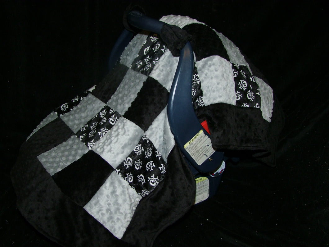 Skull Car Seat Canopy Blanket - Block Style Canopy - Car Seat Canopy Blanket-