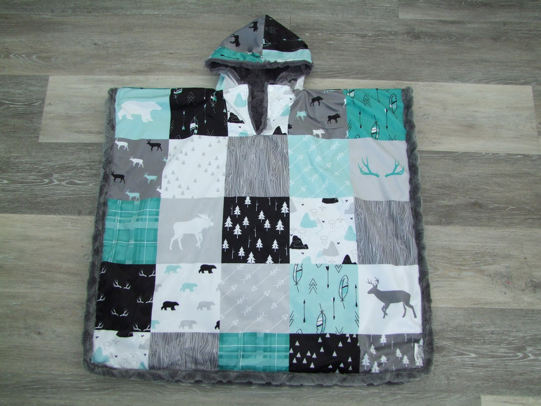 Woodland Patchwork Minky Car Seat Poncho Collection Baby To Adult