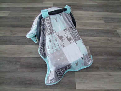 DESIGNER Deer and Woodgrain Minky Canopy Blanket- Car Seat Canopy Blanket- Choose from 11 Color Combos