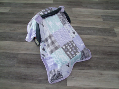 DESIGNER Deer and Woodgrain Minky Canopy Blanket- Car Seat Canopy Blanket- Choose from 12 Color Combos