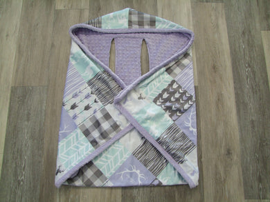 Designer Cozy Wrap Blanket- Car Seat Blanket- Lavendar Aqua Deer and Woodgrain Little One