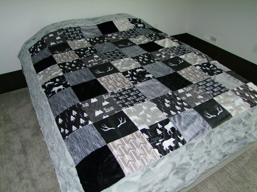 Black Gray Woodland BLOCK Style Minky Blanket- Toddler Size up to KING SIZE