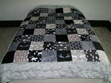 "Black Gray Woodland BLOCK Style Minky Blanket- Toddler Size up to KING SIZE  ""Woodland Collection"""