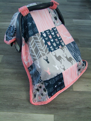 DESIGNER Deer and Woodgrain Minky Canopy Blanket- Car Seat Canopy Blanket- Choose from 9 Color Combos