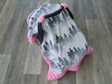 Designer Forest Mist Minky Car Seat Canopy Blanket - Car Seat Canopy Blanket-