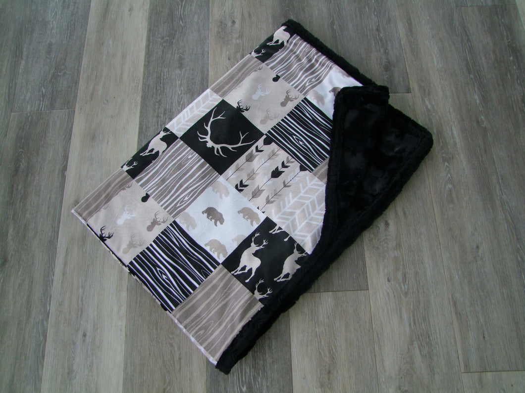 Beige Black Designer Blankets - Deer Woodgrain - You Choose the Colors!