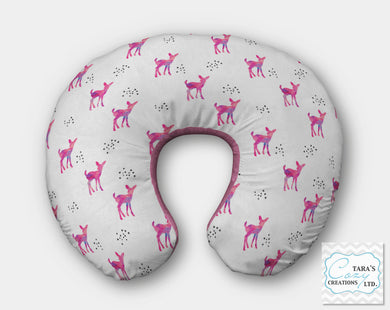 Designer Print- Pink Fawns on White Minky-  Nursing Pillow Cover