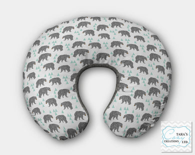 Designer Print- Charcoal and Mint BEARS Minky-  Nursing Pillow Cover