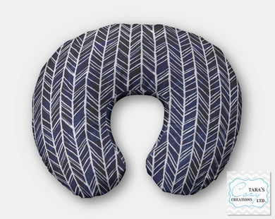 Navy Herringbone Minky Nursing Pillow Cover- Boppy Cover, Jolly Jumper C Cover or Boomerang Cover