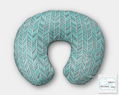 Teal Herringbone Minky Nursing Pillow Cover- Boppy Cover, Jolly Jumper C Cover or Boomerang Cover
