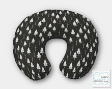 """WOODLAND COLLECTION"" Print- Black White Trees Minky-  Nursing Pillow Cover"