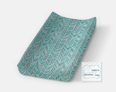 Teal Herringbone Changing Pad Cover- Contour Cover- Minky Cover