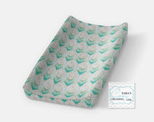 DESIGNER MINKY  Changing Pad Cover- Moose Bear Navy Gray Mint Minky - Contour Cover- Minky Cover