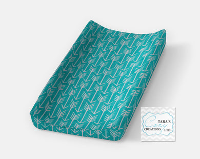 Teal Arrow Changing Pad Cover- Contour Cover- Minky Cover