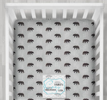 Bear Fitted Sheet- Crib, Twin, Double, Queen Sheet- Navy/Gray or Red