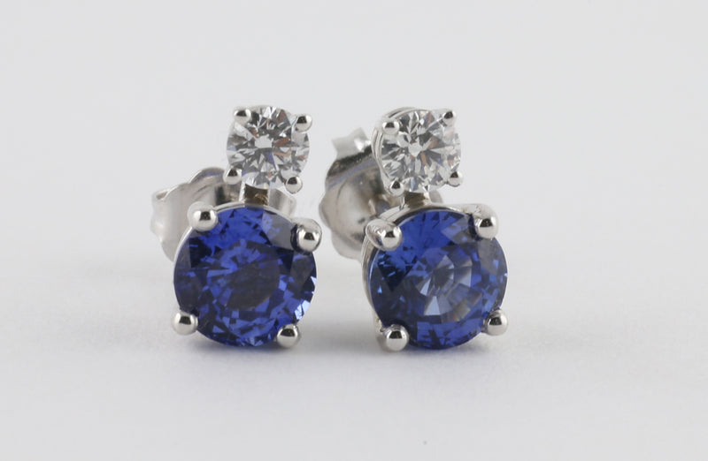 692b85ef3 Diamond Topped Sapphire Studs – Williams Custom Jewellery