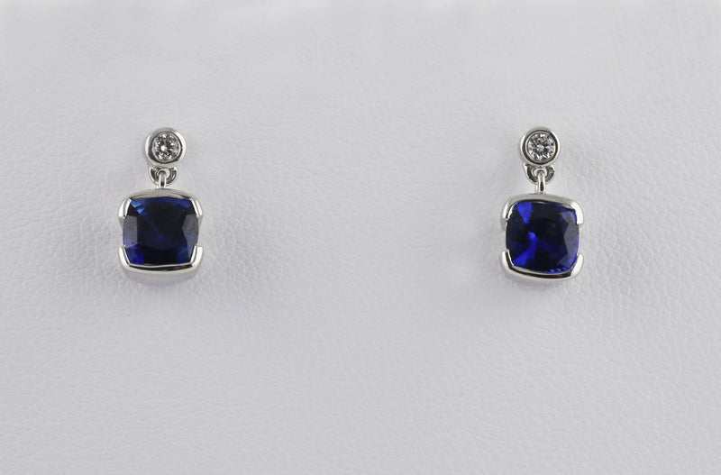 Diamond Topped Dangling Sapphires